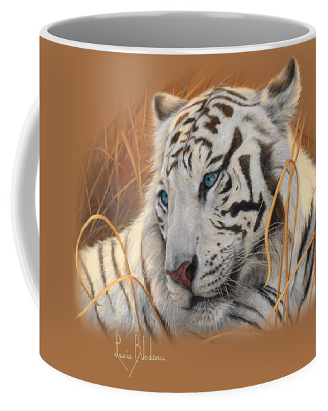 Tiger Coffee Mug featuring the painting Portrait White Tiger 1 by Lucie Bilodeau