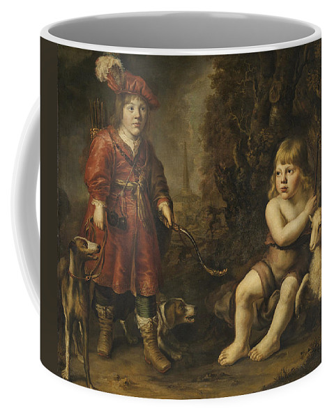 Douwe Juwes De Dowe Coffee Mug featuring the painting Portraits Of Two Boys In A Landscape One Dressed As A Hunter The Other St As John The Baptist by Douwe Juwes de Dowe