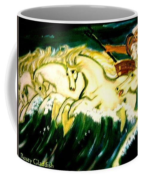 Mythical Coffee Mug featuring the painting Poseidon by Rusty Gladdish