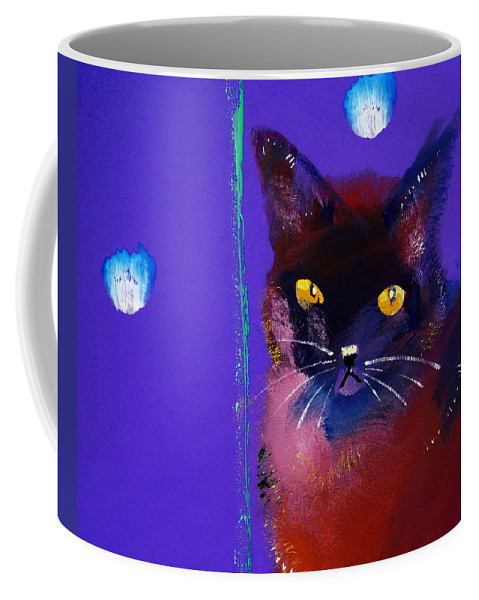Cat Coffee Mug featuring the painting Posh Tom Cat by Charles Stuart