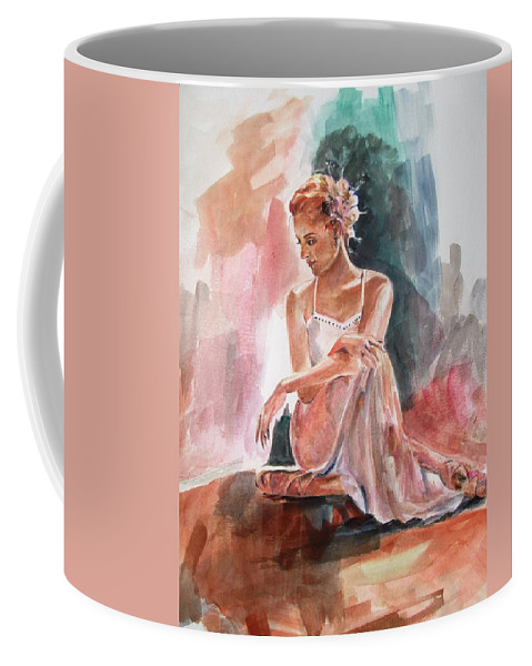 Lady Coffee Mug featuring the painting Posing by Khalid Saeed
