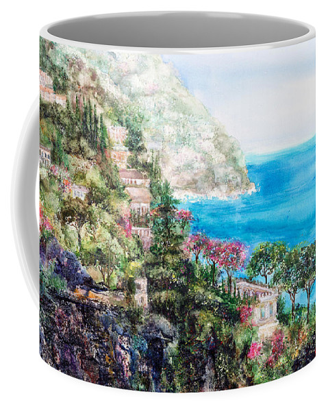 Landscape Coffee Mug featuring the painting Positano by Barbara Colangelo