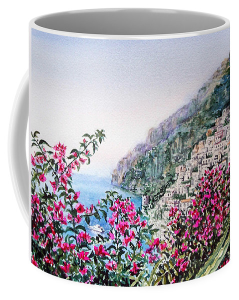 Italy Coffee Mug featuring the painting Positano Italy by Irina Sztukowski