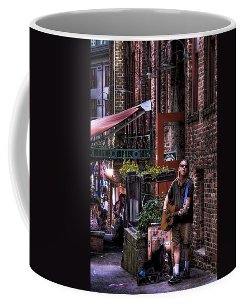 Post Alley Musician Coffee Mug featuring the photograph Post Alley Musician by David Patterson
