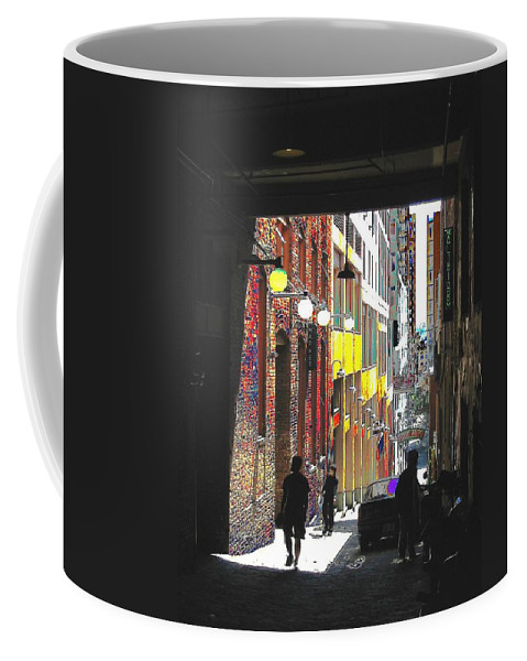 Seattle Coffee Mug featuring the digital art Post Alley by Tim Allen