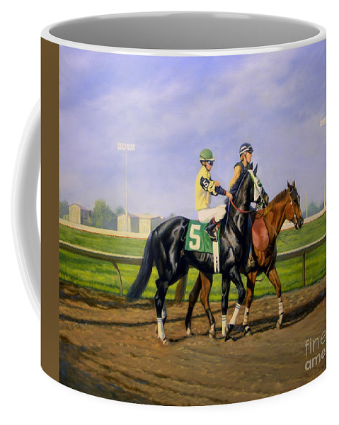 Horse Coffee Mug featuring the painting Post Parade by Jeanne Newton Schoborg