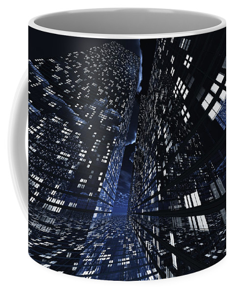 Abstractly Coffee Mug featuring the digital art Poster-city 0 by Max Steinwald