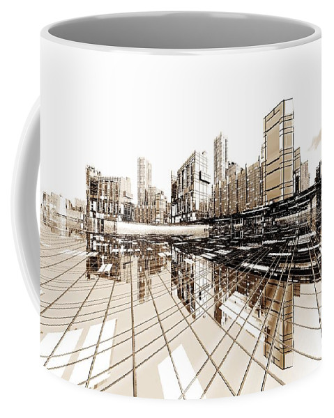 Abstractly Coffee Mug featuring the digital art Poster-city 4 by Max Steinwald