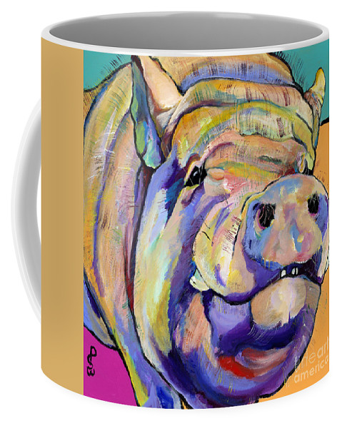 Pig Prints Coffee Mug featuring the painting Potbelly by Pat Saunders-White