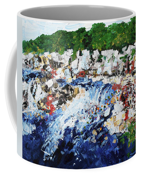 Waterfall Coffee Mug featuring the painting Potomac River At Great Falls 4 201687 by Alyse Radenovic