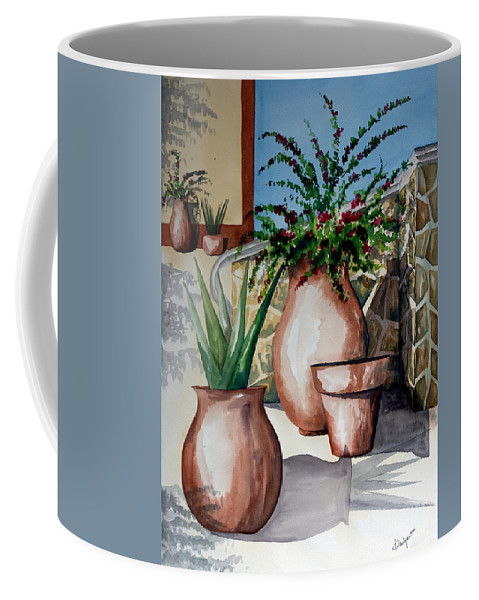 Floral Painting Coffee Mug featuring the painting Pots And Bougainvillea by Kandyce Waltensperger