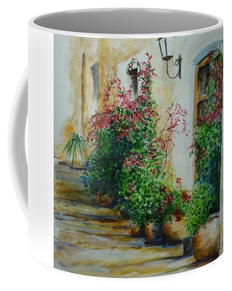 Earthenware Pots Coffee Mug featuring the painting Pots And Plants by Lizzy Forrester
