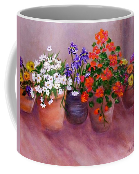 Flowers Coffee Mug featuring the painting Pots Of Flowers by Jamie Frier