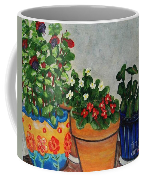 Ceramic Pots Coffee Mug featuring the painting Pots Showing Off by Laurie Morgan