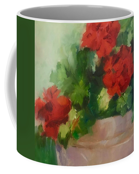 Red Geraniums Coffee Mug featuring the painting Potted Red Geraniums by Carol Hopper