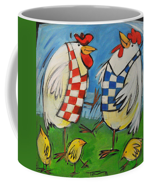 Hens Coffee Mug featuring the painting Poultry in Motion by Tim Nyberg