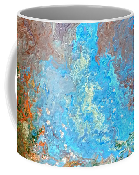 Acrylic Pour Coffee Mug featuring the painting Siskiyou Creek by Valerie Josi