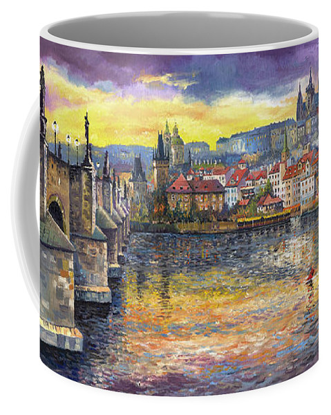 Oil On Canvas Coffee Mug featuring the painting Prague Charles Bridge And Prague Castle With The Vltava River 1 by Yuriy Shevchuk