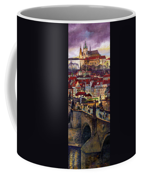 Prague Coffee Mug featuring the painting Prague Charles Bridge With The Prague Castle by Yuriy Shevchuk