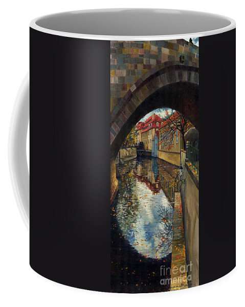 Oil Coffee Mug featuring the painting Prague Chertovka 3 by Yuriy Shevchuk