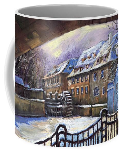 Pastel Coffee Mug featuring the painting Prague Chertovka Winter 01 by Yuriy Shevchuk