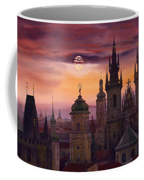 Cityscape Coffee Mug featuring the painting Prague City Of Hundres Spiers by Yuriy Shevchuk