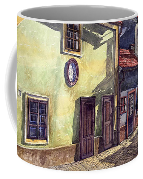 Watercolour Coffee Mug featuring the painting Prague Golden Line Street by Yuriy Shevchuk