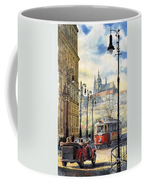 Architecture Coffee Mug featuring the painting Prague Kaprova Street by Yuriy Shevchuk