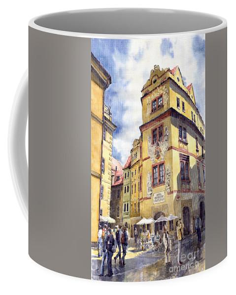 Architecture Coffee Mug featuring the painting Prague Karlova Street Hotel U Zlate Studny by Yuriy Shevchuk
