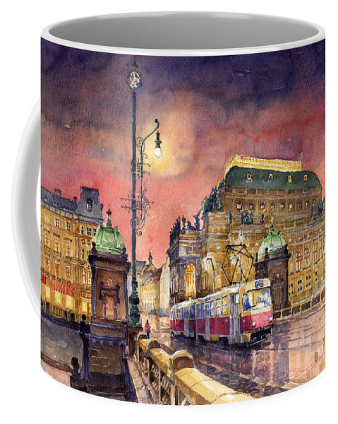 Bridge Coffee Mug featuring the painting Prague Night Tram National Theatre by Yuriy Shevchuk
