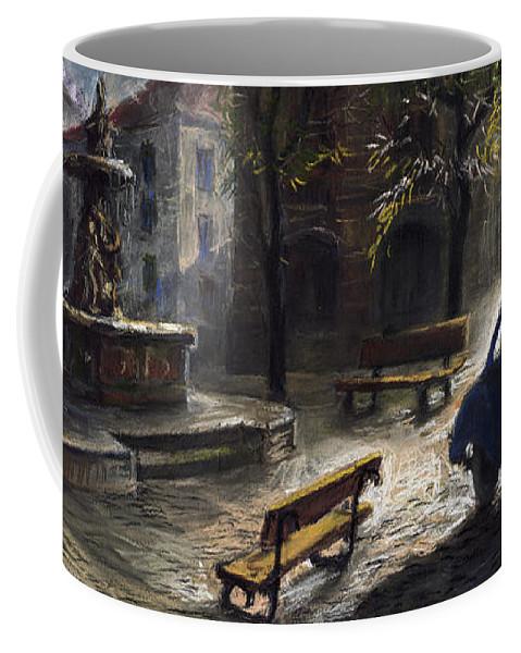 Prague Coffee Mug featuring the painting Prague Old Fountain by Yuriy Shevchuk