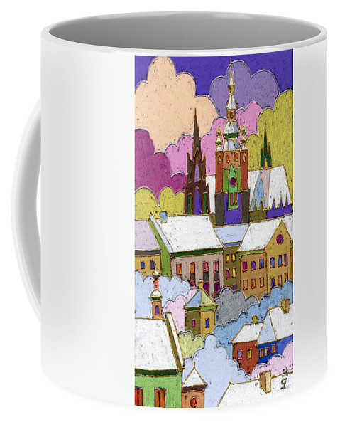 Pastel Coffee Mug featuring the painting Prague Old Roofs Prague Castle Winter by Yuriy Shevchuk
