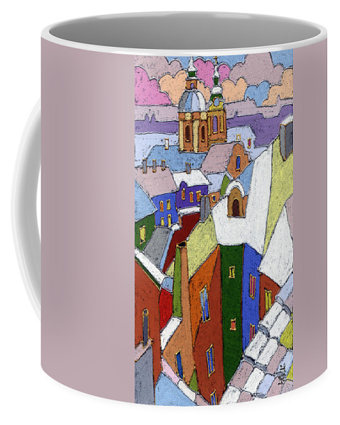 Pastel Coffee Mug featuring the painting Prague Old Roofs Winter by Yuriy Shevchuk