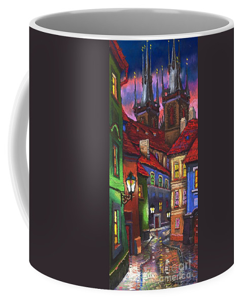 Pastel Coffee Mug featuring the painting Prague Old Street 01 by Yuriy Shevchuk