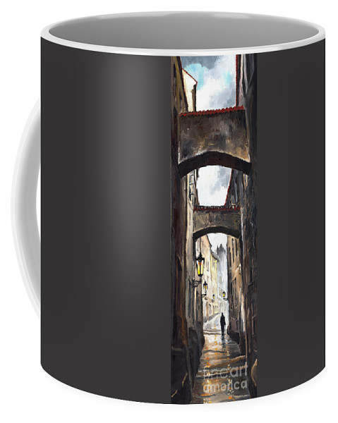 Oil On Canvas Paintings Coffee Mug featuring the painting Prague Old Street 02 by Yuriy Shevchuk