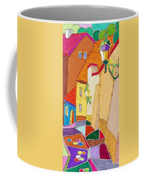 Pastel Coffee Mug featuring the painting Prague Old Street Ceminska Novy Svet by Yuriy Shevchuk