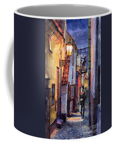 Goldenline Coffee Mug featuring the painting Prague Old Street Golden Line by Yuriy Shevchuk