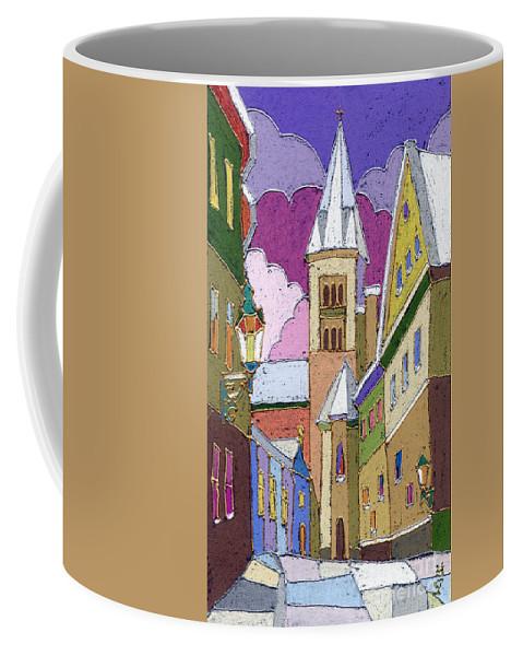 Pastel Coffee Mug featuring the painting Prague Old Street Jilska Winter by Yuriy Shevchuk