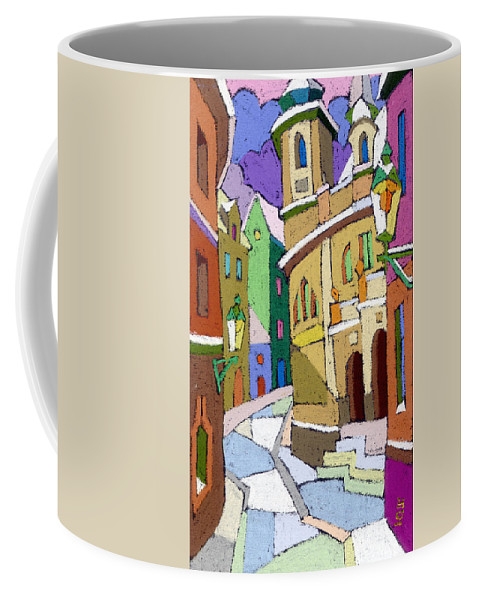 Pastel Coffee Mug featuring the painting Prague Old Street Karlova Winter by Yuriy Shevchuk