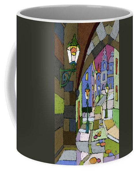 Pastel Coffee Mug featuring the painting Prague Old Street Mostecka by Yuriy Shevchuk