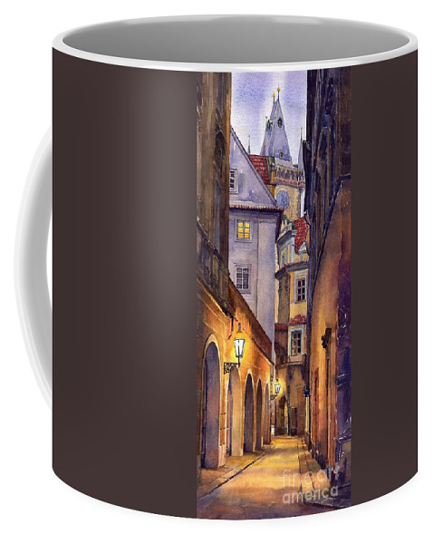 Cityscape Coffee Mug featuring the painting Prague Old Street by Yuriy Shevchuk