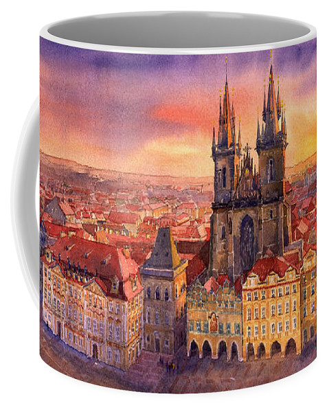 Watercolour Coffee Mug featuring the painting Prague Old Town Square 02 by Yuriy Shevchuk