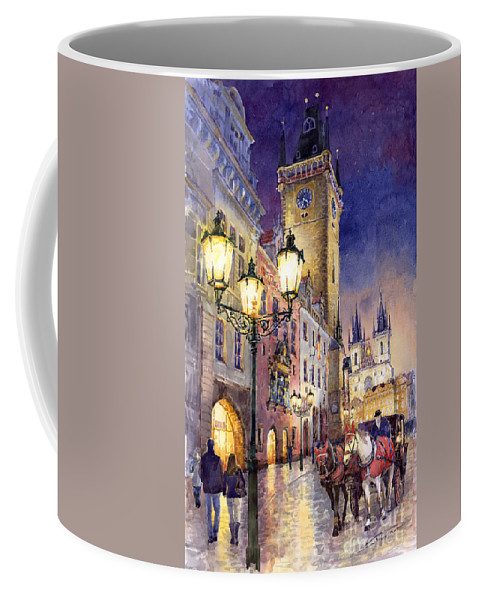 Cityscape Coffee Mug featuring the painting Prague Old Town Square 3 by Yuriy Shevchuk