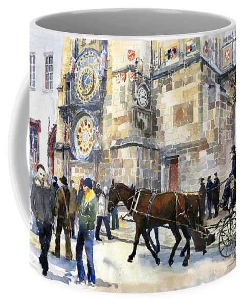 Watercolour Coffee Mug featuring the painting Prague Old Town Square Astronomical Clock Or Prague Orloj by Yuriy Shevchuk