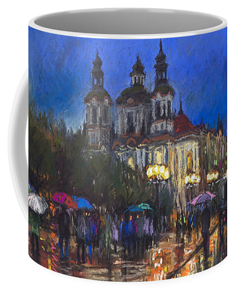 Prague Coffee Mug featuring the pastel Prague Old Town Square St Nikolas Ch by Yuriy Shevchuk