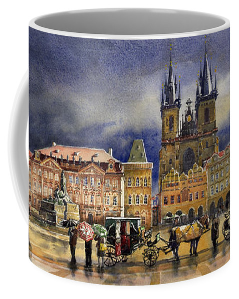 Watercolor Coffee Mug featuring the painting Prague Old Town Squere After rain by Yuriy Shevchuk