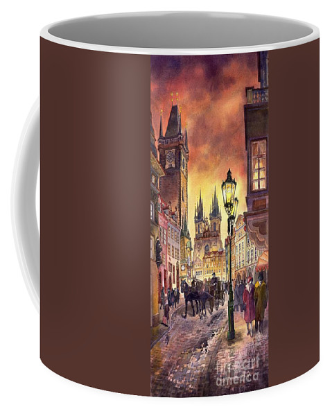 Cityscape Coffee Mug featuring the painting Prague Old Town Squere by Yuriy Shevchuk