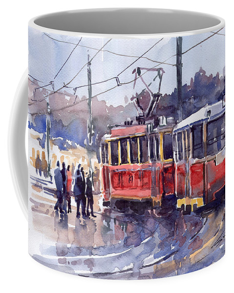 Cityscape Coffee Mug featuring the painting Prague Old Tram 01 by Yuriy Shevchuk