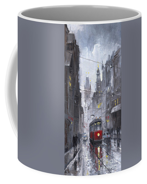 Oil On Canvas Coffee Mug featuring the painting Prague Old Tram 03 by Yuriy Shevchuk