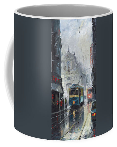 Oil On Canvas Coffee Mug featuring the painting Prague Old Tram 04 by Yuriy Shevchuk